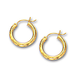 3 mm Diamond-Cut Gold Huggie Earrings in 14K Yellow Gold (20 mm)