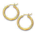 3 mm Gold Diamond Cut Shinny Hoop Earring in 14K Yellow Gold (20 mm)