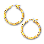 3 mm Gold Diamond Cut Shinny Hoop Earring in 14K Yellow Gold (25 mm)