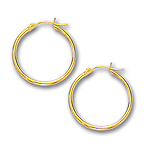 2 mm Gold Classic Hoop Earring in 14K Yellow Gold (25 mm)