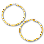 2 mm Gold Classic Hoop Earring in 14K Yellow Gold (40 mm)