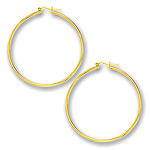 2 mm Gold Classic Hoop Earring in 14K Yellow Gold (55 mm)