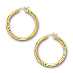 3 mm Gold Classic Hoop Earring in 14K Yellow Gold (30 mm)