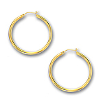 3 mm Gold Classic Hoop Earring in 14K Yellow Gold (40 mm)