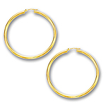 3 mm Gold Classic Hoop Earring in 14K Yellow Gold (50 mm)
