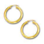 4 mm Gold Classic Hoop Earring in 14K Yellow Gold (30 mm)