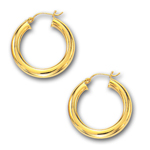 4 mm Gold Puffed Hoop Earring in 14K Yellow Gold (30 mm)