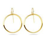 Gold Hoop-Drop Dangle Earrings with French Backs in 14K Yellow Gold