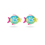 Gold Prince and Princess Childrens Fish Earrings in 14K Yellow Gold