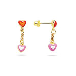 Gold Prince and Princess Childrens Heart Earrings in 14K Yellow Gold