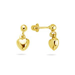 Gold Puff Heart Drop Children's Earrings in 14K Yellow Gold