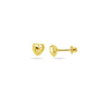 Gold Puff Heart Stud Children's Earrings in 14K Yellow Gold