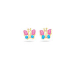 Gold Prince-Princess Childrens Butterfly Earrings in 14K Yellow Gold