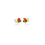 Gold Prince-Princess Childrens Honey Bee Earrings in 14K Yellow Gold