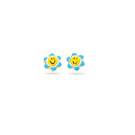 Yellow & Blue Flower Post Smilie Earrings in 14K Yellow Gold