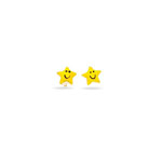 Gold Prince and Princess Childrens Star Earrings in 14K Yellow Gold