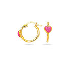 Gold Prince-Princess Childrens Heart Hoop Earrings in 14K Yellow Gold