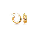 Gold Children's  Greek Key Design Hoop Earrings in 14K Yellow Gold