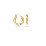 Gold Children's Shiny Twisted Round Hoop Earrings in 14K Yellow Gold