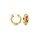 Gold Prince and Princess Childrens Hoop Earrings in 14K Yellow Gold