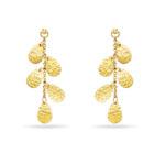 Gold Leaf Dangle Earrings in 14K Yellow Gold