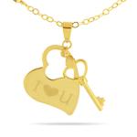 Gold Heart-Key Pendant in 14K Yellow Gold