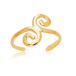 Swirl Gold Toe Ring in 14K Yellow Gold