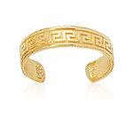 Shiny Cuff Type Greek Key Gold Toe Ring in 14K Yellow Gold