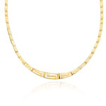 Greek Key Necklace in 14K Two Tone Gold