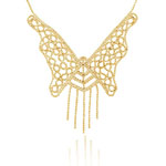 Balinese Bead Butterfly Necklace in 14K Yellow Gold