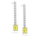 0.20 Cts Diamond & 1.00 Cts Yellow Sapphire Earrings in 18K White Gold