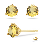 1.20 Cts of 5 mm AA Round  Yellow Sapphire Stud Earrings in 14K Yellow Gold