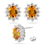 0.48 Ct Diamond & 1.76 Ct Yellow Sapphire Cluster Earrings - 14KW Gold