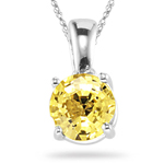 1.35 Cts of 6 mm AA Round Yellow Sapphire Solitaire Pendant in 14K White Gold