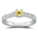0.08 Ct Diamond & Yellow Sapphire Ring in 14K White Gold