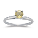 0.66 Ct 5 mm AAA Round Yellow Sapphire Engagement Ring in 14K White Gold