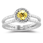 0.68 Ct of 5 mm AA Round Yellow Sapphire Ring in 14K White Gold