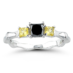 0.45 Cts Black Diamond & 0.36 Cts Yellow Sapphire Ring in 14K White Gold