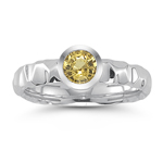 0.61 Ct 5 mm AA Round Yellow Sapphire Solitaire Ring in 14K White Gold