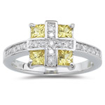 0.19 Cts Diamond & 0.75 Cts Yellow Sapphire Ring in 14K White Gold