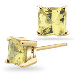 1.34-1.42 Ct 5 mm AA Princess Yellow Sapphire Stud Earrings- 14KY Gold