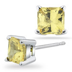 1.40 Cts of 5 mm AA Princess Yellow Sapphire Stud Earrings in 14K White Gold