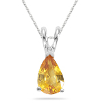 0.45 Ct 6x4 mm AA Pear Yellow Sapphire Solitaire Pendant in 14KW Gold