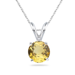 0.50-0.80 Cts of 5 mm AAA Round Yellow Sapphire Solitaire Pendant in Platinum