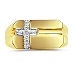 0.02 Cts Diamond Men's Cross Ring in 14K Yellow Gold