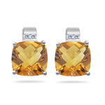 0.08 Cts Diamond & 3.18 Cts Citrine Earrings in 14K White Gold