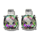 0.08 Cts Diamond & 4.24 Cts Mystic Topaz Earrings in 14K White Gold