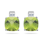 Diamond & 4.08 Cts 8 mm AA Cush Check Peridot Earrings in 14KW Gold