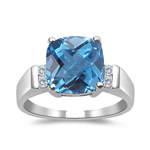 0.08 Cts Diamond & AAA Swiss Blue Topaz Ring in 14K White Gold
