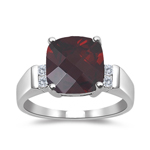 0.08 Cts Diamond & 1.25 Cts Garnet Ring in 14K White Gold
